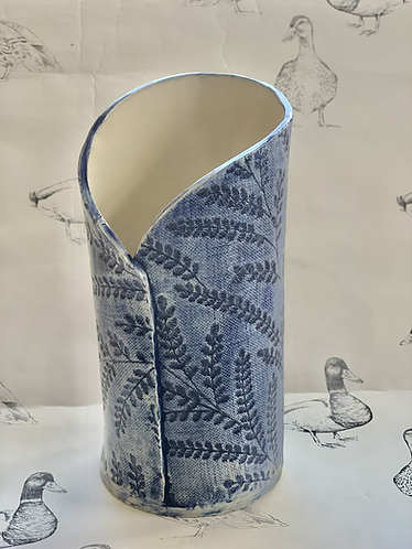 Embroidered fabric navy vase