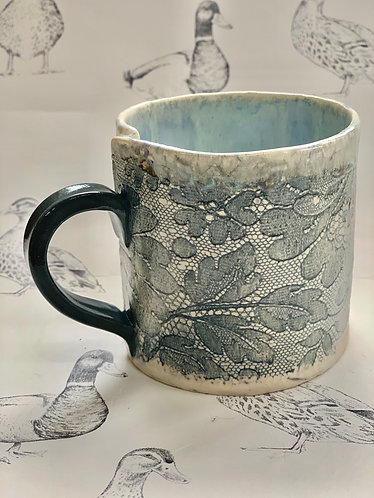 Antique lace warm grey hand built mug