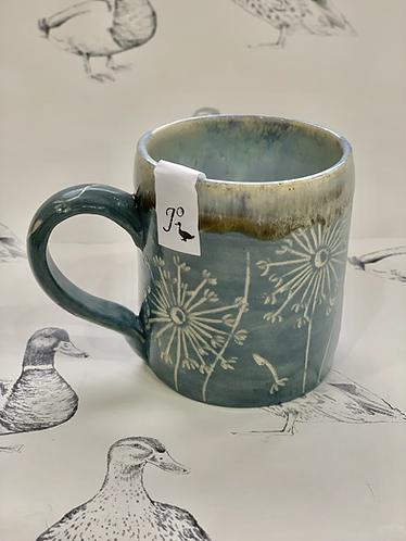 Grey blue dandelion small mug