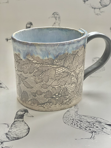 Antique lace warm grey hand built mug