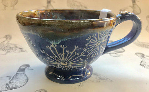 Denim blue dandelion tea mug