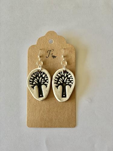 Black tree of life sterling silver earrings