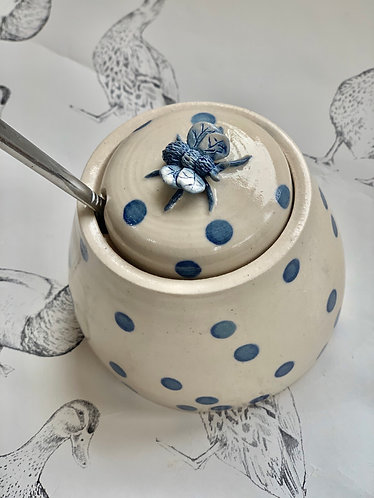 Spotty blue honey pot