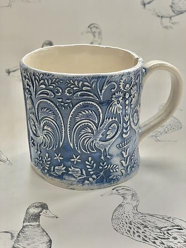 Navy folky chicken mug