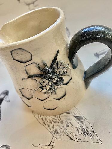 Small dark grey/blue bee jug