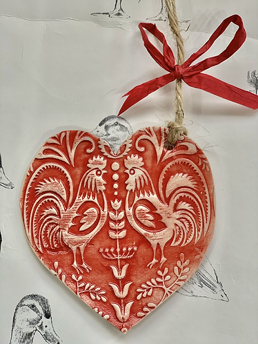 Chickens and heart decoration