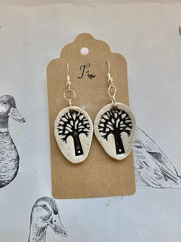 Black tree of life earrings