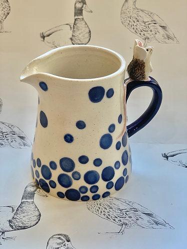 Spotty blue mouse jug
