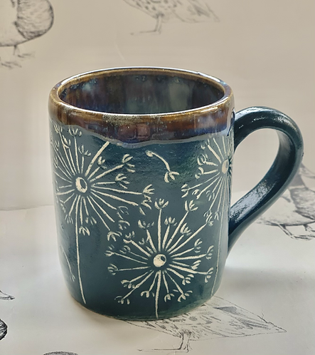 Marine green small dandelion mug