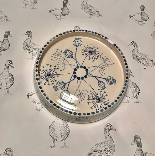 Dandelion and poppy seed head hand painted dish