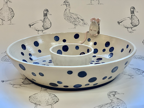 Blue spotty mouse chip and dip bowl