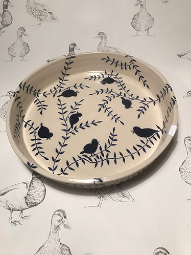 Navy bird trail dish