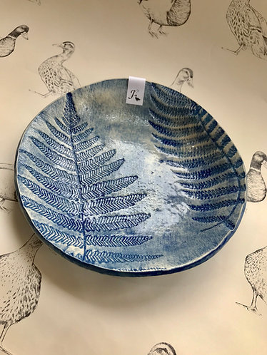Embroidered fern dish