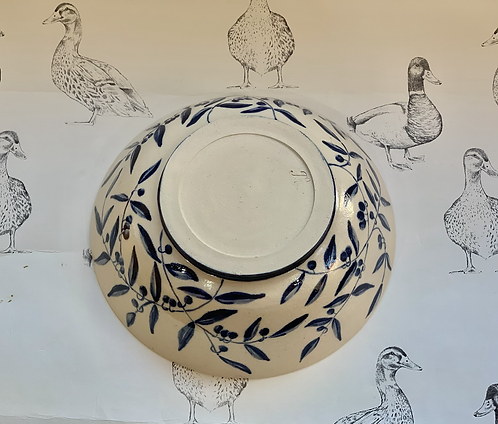 Hand painted olive trail bowl