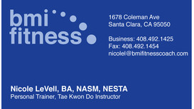 BMI Fitness business card