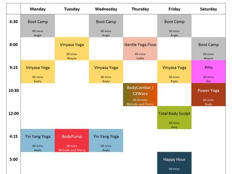 Virtual Classes Schedule, Week of 5/11