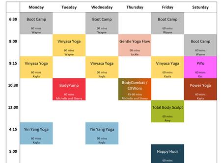 Virtual Classes Schedule, Week of 5/4