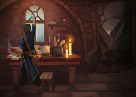 Young wizard and mystical room in remote team building game The Dark Tower
