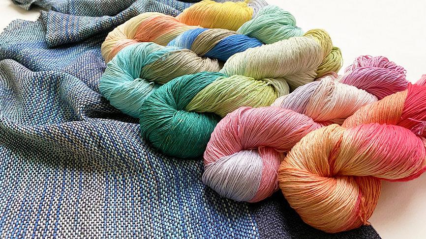 錦染絹紡糸【手織り 手編み 手染め糸 絹糸】