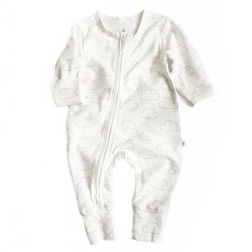 ZIPPYUP | CLOUD PRINT BABY GROW | 0-3 MTHS