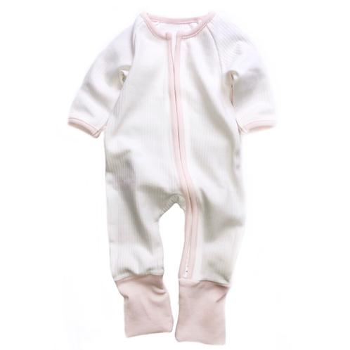 ZIPPY UP | WHITE & PINK FOOTLESS BABYGROW | 0-3MTHS