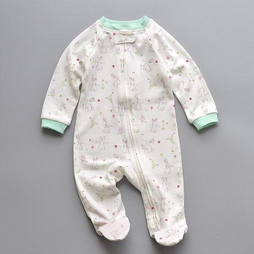 ZIPPYUP | SPRING BUNNY PRINT BABY GROW | 0-3 MTHS