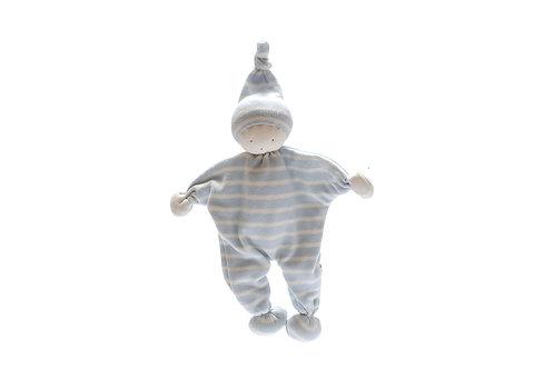 FAIR TRADE ORGANIC COTTON BABY COMFORTER BLUE AND WHITE STRIPE