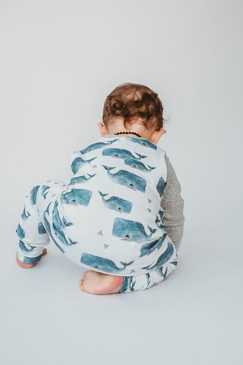 WHALE DUNGAREE ROMPER | 0-3 MTH
