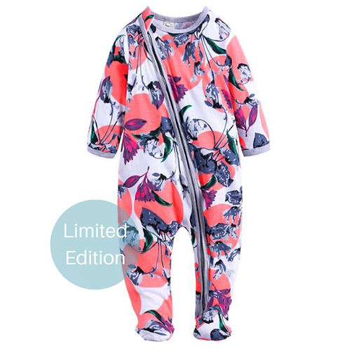 ZIPPYUP   TOTALLY TROPICAL FLORAL BABY GROW   0-3 MTHS