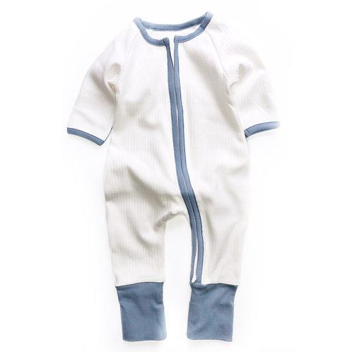 ZIPPY UP   WHITE & BLUE FOOTLESS BABYGROW   0-3MTHS