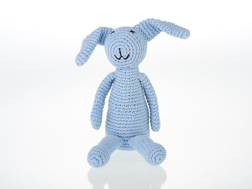 MY FIRST BUNNY BABY RATTLE BLUE CROCHET COTTON