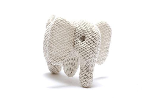 ORGANIC COTTON WHITE ELEPHANT BABY RATTLE