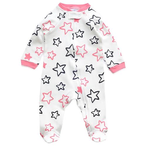 ZIPPYUP   BLACK & PINK STARS PRINT BABY GROW   0-3 MTHS