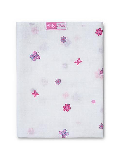 OLLY & BELLE | FLOWERS & BUTTERFLIES PRINT | SINGLE MUSLIN