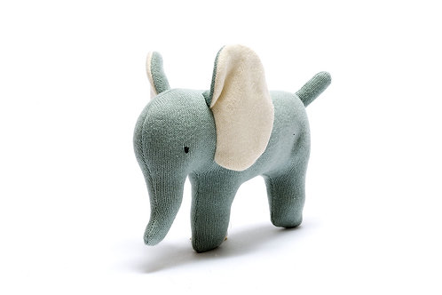 ORGANIC COTTON SMALL TEAL ELEPHANT TOY
