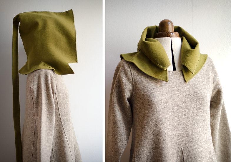 Green liripipe hood