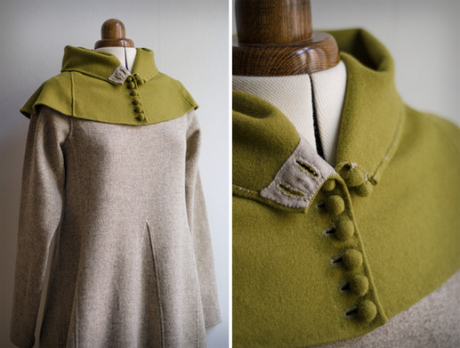 Green buttoned hood, late 14th century