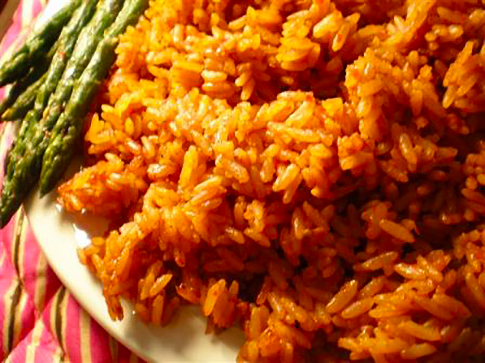 Jollof Rice with Asparagus - Made with Blessings's Foods Jollof Rice Seasoning Mix