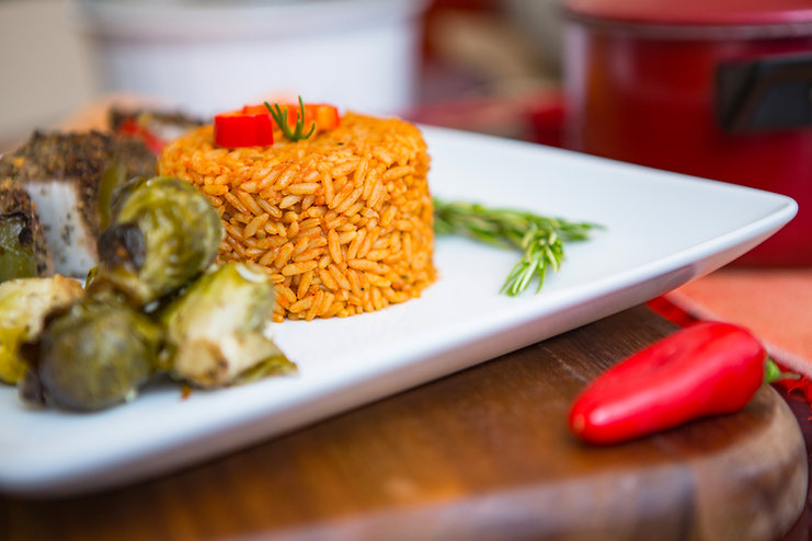 Jollof Rice with Brussel Sprouts