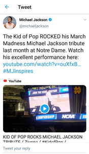 """""""The Kid of Pop ROCKED his March Madness Michael Jackson tribute!"""" - Michael Jackson's Estate"""