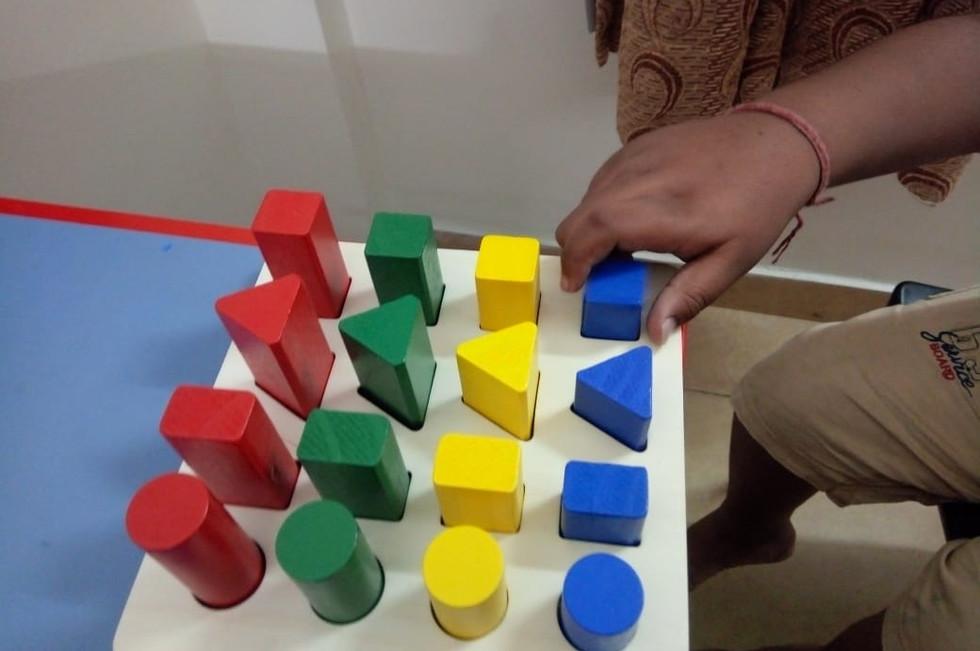 Fine motor training for child with visua