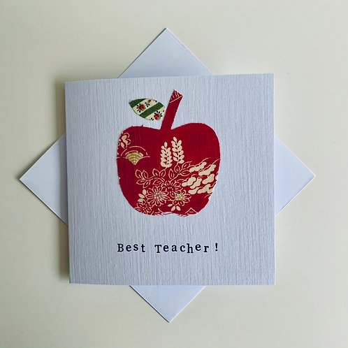 Best Teacher Textile Card