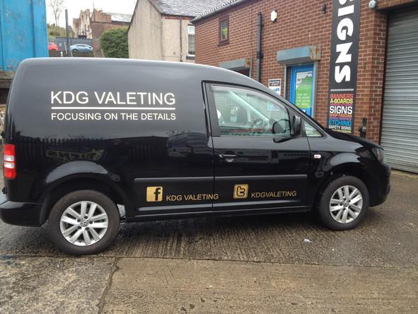 KDG Valeting vehicle lettering