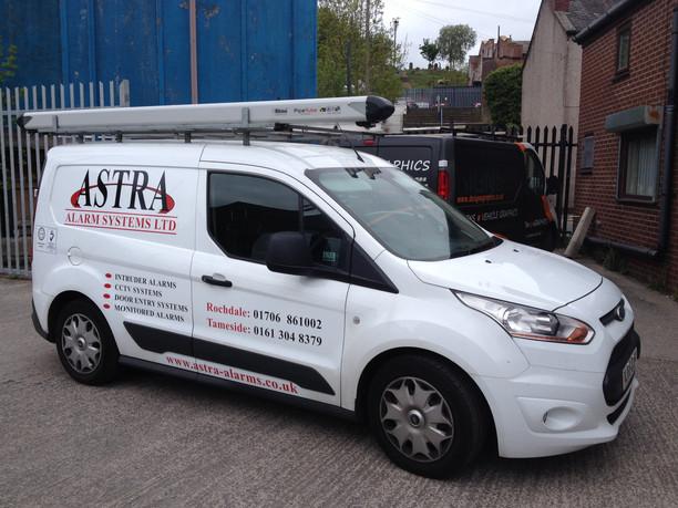 Astra Alarms Van lettering