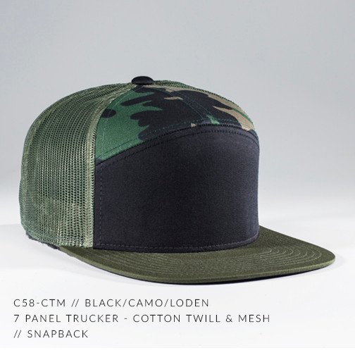 7 PANEL TRUCKER HAT CAMO/ BLACK
