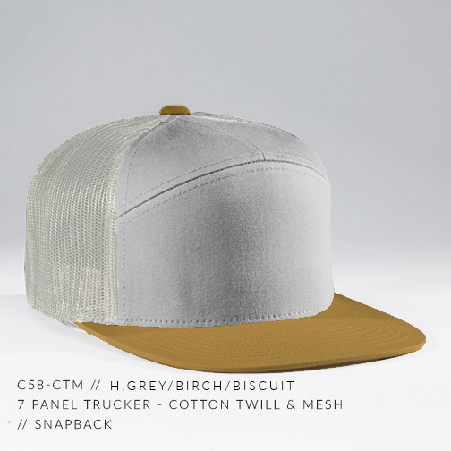 7 PANEL TRUCKER HAT TAN/ BRONZE
