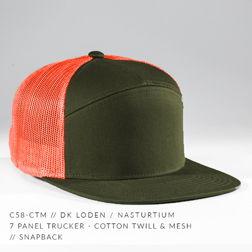 7 PANEL TRUCKER HAT ARMY/ ORANGE