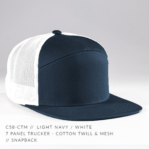 7 PANEL TRUCKER HAT NAVY/ WHITE