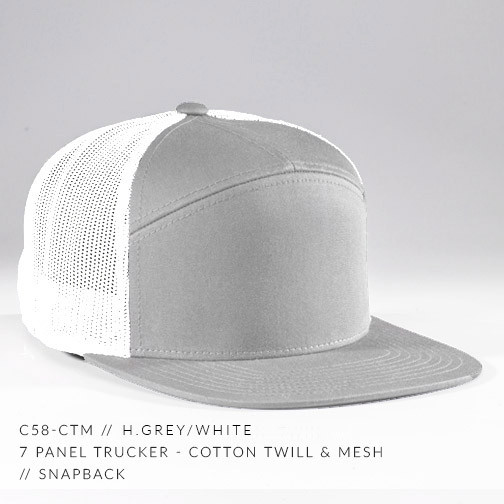 7 PANEL TRUCKER HAT WHITE / HEATHER GREY