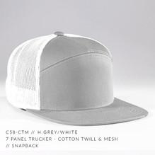 7 PANEL TRUCKER HAT WHITE / HEATHER GREY